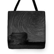 Abandoned House Spiral Star Trail Bw  Tote Bag