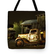 Abandoned Truck And School Bus In Ghost Town Tote Bag