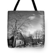 Abandoned Wooden Shack In Winter Tote Bag