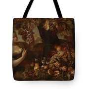 Abraham Brueghel After, Girl With Grapes And Still Life With Fruit. Tote Bag
