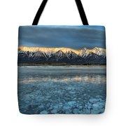 Abraham Lake Ice Bubble Sunset Tote Bag