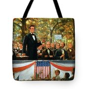 Abraham Lincoln And Stephen A Douglas Debating At Charleston Tote Bag by Robert Marshall Root