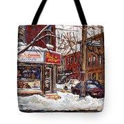 Rue De Pointe St Charles En Hiver Scenes De Rue De Montreal Peinture Originale A Vendre Paul Patates Tote Bag