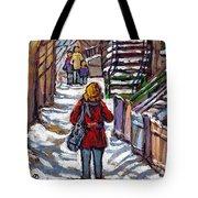 En Route Vers L'ecole Escaliers De Montreal Scenes De Ville Peintures A Vendre Tote Bag