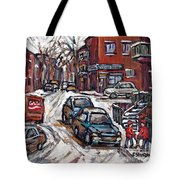 Ville Emard En Peinture Scenes De Ville De Montreal En Hiver Petit Format A Vendre Tote Bag