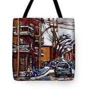 Plateau Mont Royal Scenes De Rue De Montreal En Hiver Rue Napoleon Petit Format A Vendre Tote Bag