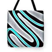 Abstract 35 Silver Blue Turquoise Tote Bag