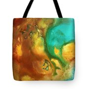 Abstract Art Colorful Turquoise Rust River Of Rust I By Madart  Tote Bag
