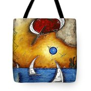 Abstract Art Contemporary Coastal Cityscape 3 Of 3 Capturing The Heart Of The City I By Madart Tote Bag