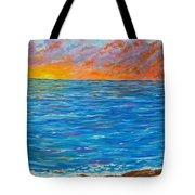 Abstract Art- Flaming Ocean Tote Bag