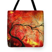 Abstract Art Floral Tree Landscape Painting Fresh Blossoms By Madart Tote Bag