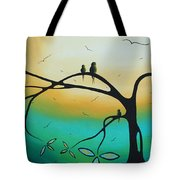 Abstract Art Landscape Bird Painting Family Perch By Madart Tote Bag