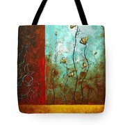 Abstract Art Original Poppy Flower Painting Subtle Changes By Madart Tote Bag