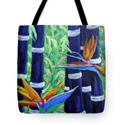 Abstract Bamboo And Birds Of Paradise 04 Tote Bag