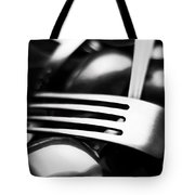 Abstract Black And White Photo Of Mixed Silver Forks Tote Bag