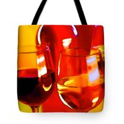 Abstract Bottle Of Wine And Glasses Of Red And White Tote Bag by Elaine Plesser