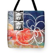 Abstract Buddha Tote Bag by Linda Woods