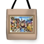 Abstract Canal Scene In Venice L A S With Decorative Ornate Printed Frame. Tote Bag