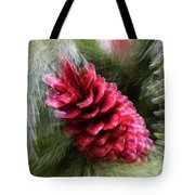 Abstract Christmas Card - Red Pine Cone Blast Tote Bag