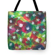 Abstract Circles With Flowers Tote Bag
