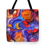 Abstract Colorful Flowers Impasto Palette Knife Modern Impressionist Oil Painting Ana Maria Edulescu Tote Bag