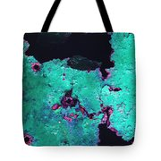 Abstract Corrosive Metal Background With Turquoise Paint Cracks Tote Bag