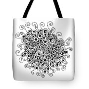Abstract Curly Design In Black And White Tote Bag