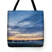 Abstract Early Morning Sunrise Over Farm Land Tote Bag
