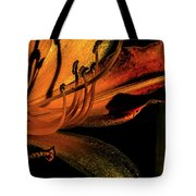 Abstract Flower Golden Red Tote Bag