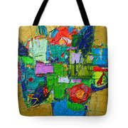 Abstract Flowers On Gold Contemporary Impressionist Palette Knife Oil Painting By Ana Maria Edulescu Tote Bag