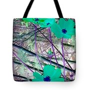 Abstract Flowrs In Green And Blue Tote Bag