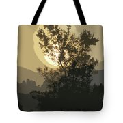 Abstract Foggy Sunrise Tote Bag
