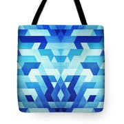 Abstract Geometric Triangle Pattern Futuristic Future Symmetry In Ice Blue Tote Bag