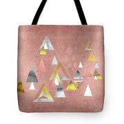 Abstract Geometric Triangles, Gold, Silver Rose Gold Tote Bag