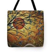 Abstract Golden Landscape Art Original Painting Peaceful Awakening I Diptych Set By Megan Duncanson Tote Bag