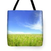 Abstract Green Field And Blue Sky Tote Bag