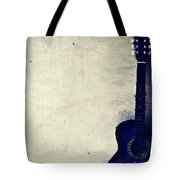 Abstract Guitar In The Foreground Close Up On Watercolor Painting Background. Tote Bag