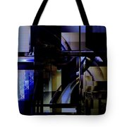Abstract In Blue-dark Towers Tote Bag