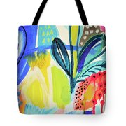 Abstract Jungle And Wild Flowers Tote Bag