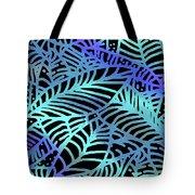 Abstract Leaves Black Aqua Tote Bag