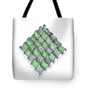 Abstract Line Design In Black And Green Tote Bag
