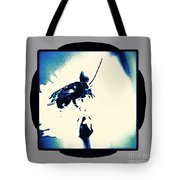Abstract Look Of Bee On White Flower Tote Bag