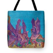 Abstract Mirage Cityscape In Blue Tote Bag by Julia Apostolova