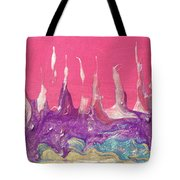 Abstract Mirage Cityscape In Pink Tote Bag by Julia Apostolova