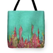 Abstract Mirage Cityscape In Turquoise Tote Bag by Julia Apostolova
