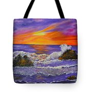 Abstract Ocean- Oil Painting- Puple Mist- Seascape Painting Tote Bag