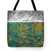 Abstract Original Painting Contemporary Metallic Gold And Teal With Gray Madart Tote Bag
