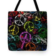 Abstract Peace Signs Collage Tote Bag