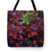 Abstract Purple Flowers Tote Bag