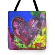 Abstract Red Heart Acrylic Painting Tote Bag